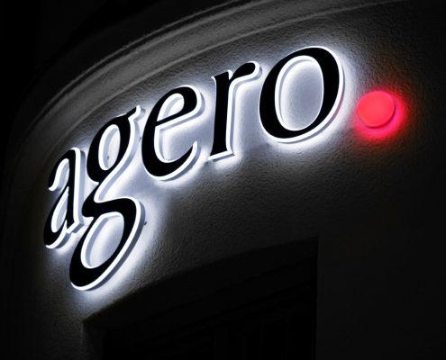 AGERO fasadskyltar av Focus Neon i Stockholm