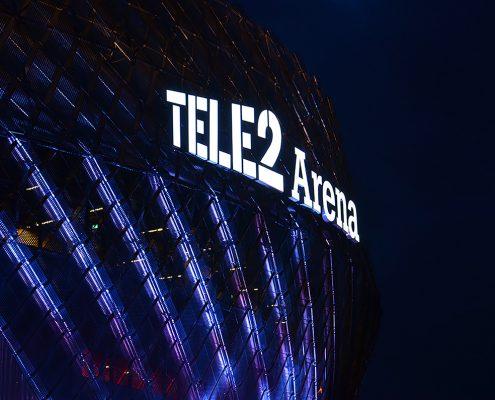 Tele2 Arena fasadskyltar av Focus Neon