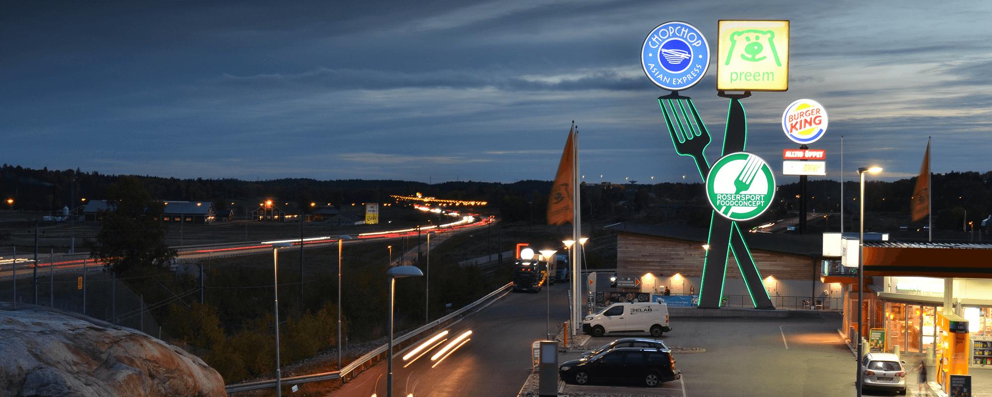 Rosersport pylonskyltar av Focus Neon