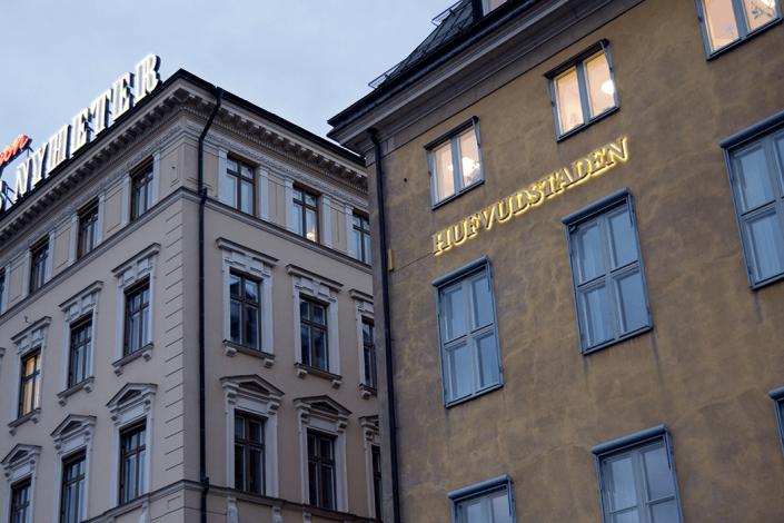 Hufvudstaden skyltar i Stockholm av Focus Neon